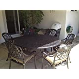 """Heritage Outdoor Living Elisabeth Cast Aluminum 7pc Patio Dining Set with 60"""" Round Table - Antique Bronze"""