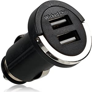 Wicked Chili Dual Schnellader - Adaptador de coche para USB (12 V / 24 V, 2100 mAh, 2 puertos USB) para cargar Apple iPad 1/2/3 y iPhone 4S/5, color negro