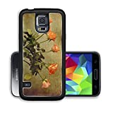 Liili Premium Samsung Galaxy S5 Aluminum Backplate Bumper Snap Case IMAGE ID 33235508 Vintage bouquet of orange roses in a glass vase on a wooden table