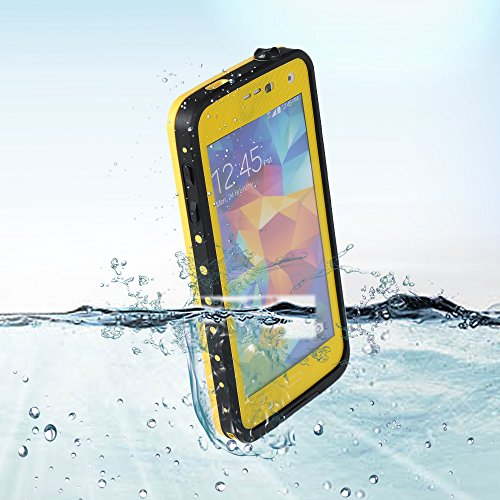 Victec Waterproof Case Cover For Samsung Galaxy S5 I9600 Shockproof Dirt Snow Proof Easy Charge Port For Watersports Outdoor Activity- Yellow