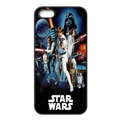 iphone5 5s phone case Black Star Wars Darth Vader Luke Skywalker Han Solo Leia Chewbacca Colorful Sci-Fi Poster Blockbuster XXD0014093