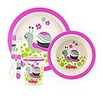 Nuby ID5498PINK - Set alimentaci�n con 1 plato, 1 bowl, 1 vaso, 1 tenedor y 1 cuchara, color rosa