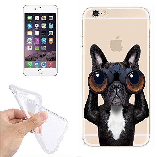 FINOO ® | Handyhülle Silikon TPU Iphone 5/5S Hund mit Fernglas