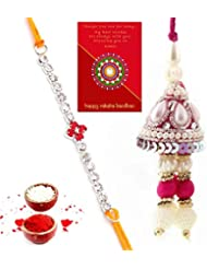 Ethnic Rakhi Designer Colorful Floral Pattern Fashionable And Stylish Bhaiya Bhabhi Mauli Thread And Beads Rakhi... - B01IIMDCK6