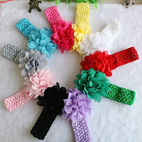 Generic Yellow : Free Shipping 1 Pc Chiffon Hollow Out Flower Crochet Headband Baby Girls Head Band