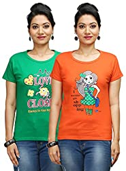 Flexicute Women's Printed Round Neck T-Shirt Combo Pack (Pack of 2)- Pakistan Green & Orange Color. Sizes : S-32, M-34, L-36, XL-38