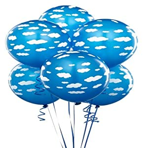 """Latex Educational Products - Cyan with White Clouds Balloons (6) Party Supplies - 11"""" latex cloud balloons by Latex"""