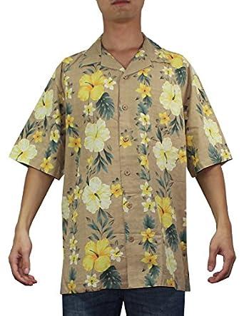 Mens hawaiian short sleeve 100 silk camp shirt l for Mens short sleeve camp shirts