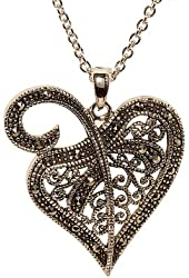 Openwork Heart Pendant with Genuine Marcasite