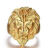 Plaqué Or Bague, Bague Pour Hommes Tête de Lion Or Taille 59 Epinki