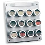 Kamenstein 12-Tin Magnetic Square Spice Rack with Free Spice Refills for 5 Years