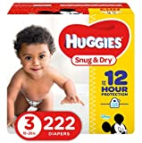 HUGGIES Snug & Dry Baby Diapers, Size 3 (fits 16-28 lbs), One Month Supply (222 Count), Packaging May Vary