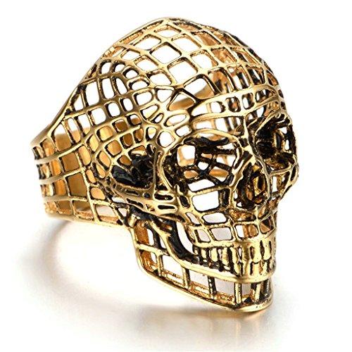 Stainless Steel Ring for Men, Skull Ring Gothic Gold 20*35MM Size 11 Epinki