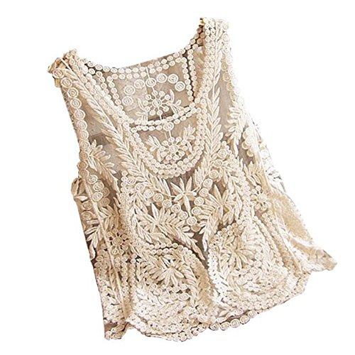 VonFon Women Lace Floral Sleeveless Crochet Knit Vest Tank Top Shirt Blouse Apricot Yellow Medium