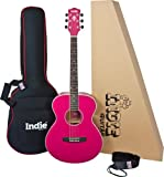 Indie IA20D Gloss Finish Orchestral Small Body Guitar - Hot Pink