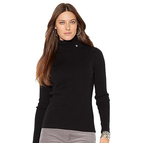 Ralph Lauren Womens Green Label Petit Jillian Turtleneck Sweater Black