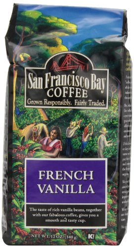 San Francisco Bay Coffee Whole Bean French Vanilla Coffee, 12-Ounce Bags (Pack of 3)