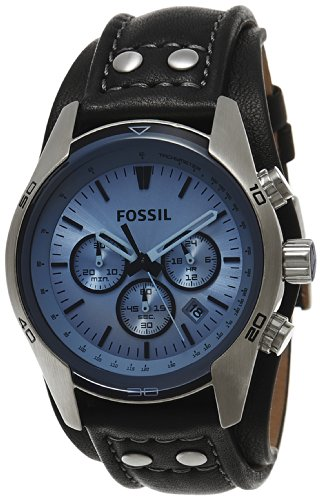 Fossil Men's CH2564 Black Leather Strap Blue Glass Silver Analog Dial Chronograph Watch