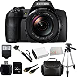 Fujifilm FinePix S1 16 MP Digital Camera with 3.0-Inch LCD (Black) + 32GB Bundle 9 PC Accessory Kit. Includes 32GB Memory Card + Reader + Extended Life Replacement Battery (NP-85) + Mini HDMI + Standard Slave Flash + Case + Handheld Monopod + More
