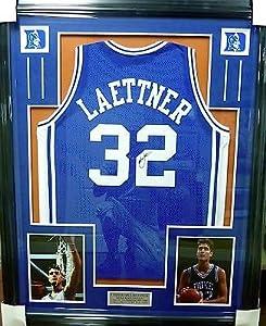 Christian Laettner Duke Blue Devils Autographed Framed Jersey JSA COA W 575590