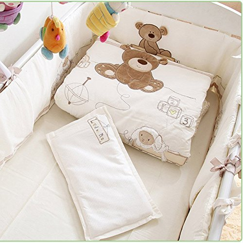 buy JACKBEBE Unisex Baby Bedding Set Cotton 3D Embroidery Bear Quilt Pillow Bumper Bed Sheet 5 Pieces Crib Bedding Set White Color for sale