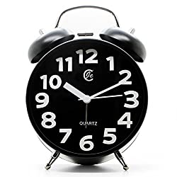 JCC Easy-to-read White Arabic numerals Twin bell Silent Quartz Analog non ticking sweep second hand bedside alarm clock (Black)