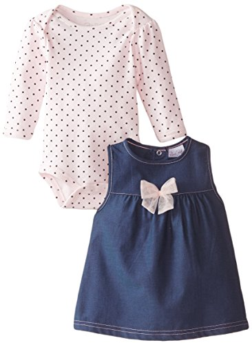 Rene Rofe Baby Baby-Girls Newborn Pretty Bow Chambray Jumper with Bodysuit, Multi, 0-3 Months