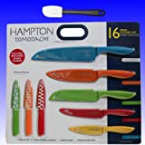 Hampton Forge Tomodachi 16pc Knife Set (8 Knives and 8 Blade Guards) Includes Bonus Silicone Spatula - Total 17 Piece Bundle