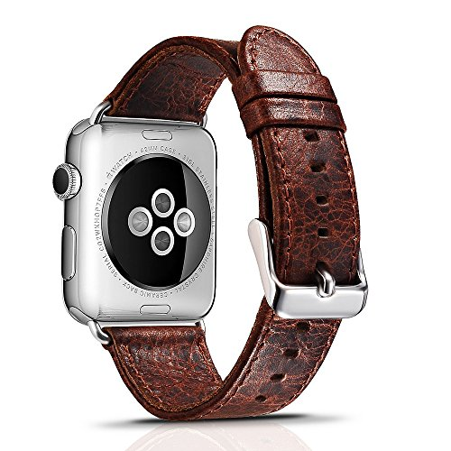 Apple Watch Leather Band, Icarercase Vintage Series Genuine Leather Watchband Strap Replacement iWatch Wristband Link Bracelet with Secure Metal Clasp Buckle for Apple Watch (Coffee for 38mm) 1