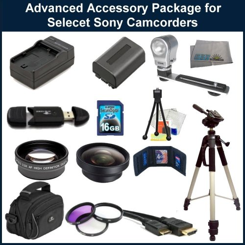 Accessory Package for Sony HDR-PJ260V/HDR-XR160 Camcorders. Package Includes: Replacement NP-FV50 Battery Pack, Rapid Travel Charger, 0.45X WIde Angle Lens, 2X Telephoto Lens, 3 Piece Filter Kit(UV-CPL-FLD), 16GB Memory Card, Memory Card Reader, HDMI Cable, Large Carrying Case, Full Size Tripod, Video Light, Table Top Tripod, LCD Screen Protectors & Cleaning Kit.