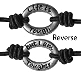 Black Life Is Tough But I am Tougher Inspirational Positive Energy Stretch Wrist Band by Jewelry Nexus