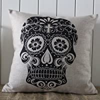 Decho Skull Halloween All Hallows' Eve Linen Cushion Cover Pillow Case Mexican Day of the Dead Calavera All Souls Day Día De Muertos from Decho Home Decor