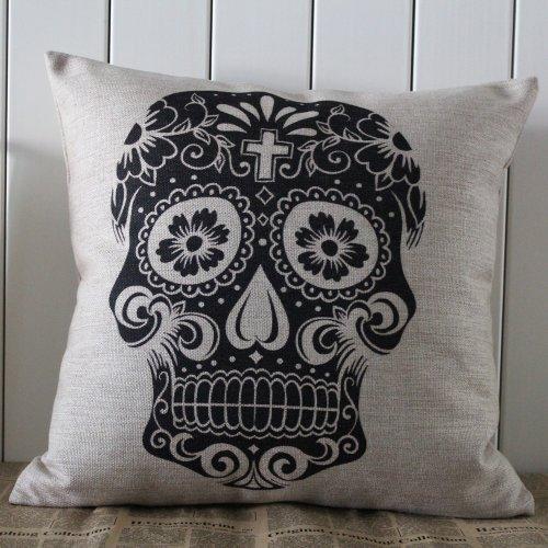 Decho Skull Halloween All Hallows' Eve Linen Cushion Cover Pillow Case Mexican Day Of The Dead Calavera All Souls Day Día De Muertos front-188729