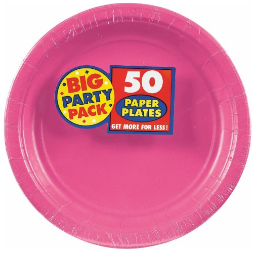 Amscan Big Party Pack 50 Count Paper Lunch Plates, 9 inch, Bright Pink