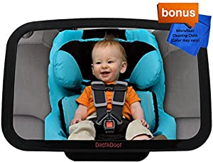 DaffaDoot Back Seat Baby Mirror, Best Rear Facing Car Seat Mirror for Tiny Tots Thru Tall Toddlers, CRASH-TESTED in the USA, Crystal Clear, Shatterproof, Gorgeous Gift Box, Two FREE GIFTS Cleaning Cloth & Newborn Fun Facts eBook,