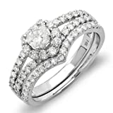14k White Gold Round Diamond Ladies Bridal Ring Heart Shape Engagement Set Matching Band (1.35 cttw, G-H Color, SI-I Clarity)