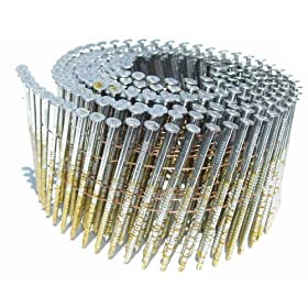 B & C Eagle 2X090HDRC 2-by-0.090-Inch-by-15-Degree Round Head Wire Collated Hot Dipped Galvanized Ring Shank Mini Coil Nail, 5400-Per Box