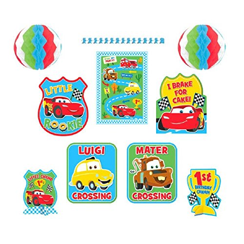 Amscan Disney Cars 1st Birthday Decorating Kit Party Supplies, Large, Red/Blue/Yellow/Green