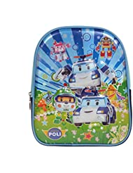 Artisan Crafted Robocar Poli Cartoon Character 3-D School Bag/ Backpack (Light Blue/Navy Blue) For Kids/ Boys/...