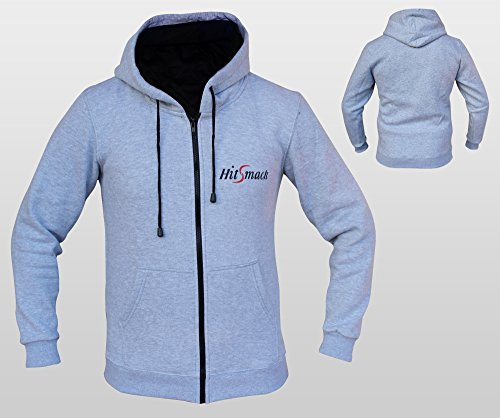 hitsmack Uomo con cerniera in pile con cappuccio felpa con cappuccio maglietta Top Palestra Jogging, Fitness, Abbigliamento casual All Weather Pile di cotone Sport Wear Cappuccio Boxe MMA, Grey, L
