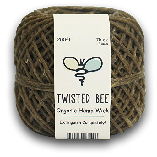 Thick x 200ft, Organic Hemp Wick with Natural Beeswax Coating | Twisted Bee (Hemp Wire compare prices)