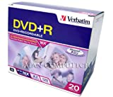 Verbatim 4.7 GB up to 16x Recordable Disc DVD+R, 20-Disc Slim Case  95038