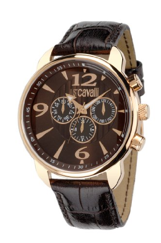 Just Cavalli Men's Earth Chronograph Watch R7271681055 with Quartz Movement, Leather Bracelet and Brown Dial