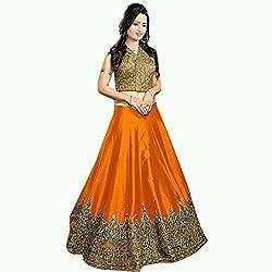 MAHAVIR FASHION Women's Orange Benglori Silk Embroidered Designer Lehenga Choli (Lehenga_508_Freesize_M Orange)