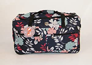 Wheeled Floral Medium Holdall Trolley Bag In Tokyo With Locking Telescopic Trolley Handle Side Top Carry Handles