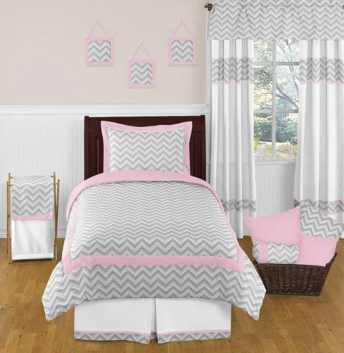 Pink And Gray Chevron Childrens And Kids Bedding 4Pc Twin Set By Sweet Jojo Designs