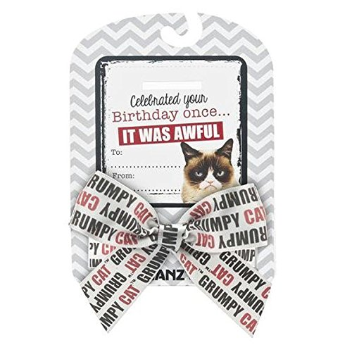 "Grumpy Cat Sentiments ""Celebrated Your Birthday Once It was Awful"" Bow & Card"
