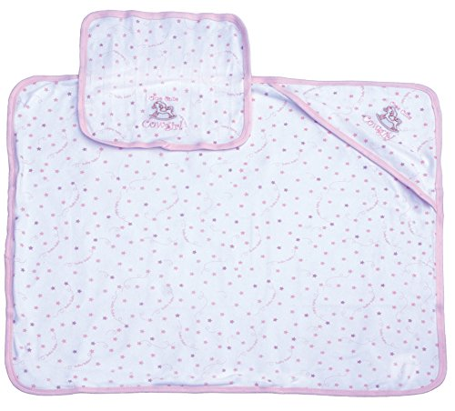 Pink Western Cowgirl Baby Infant Bath Set with Embroidered Hooded Towel and Washcloth