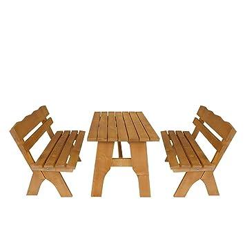Gartentischgruppe aus Kiefer Massivholz mit Bänken (3-teilig) Pharao24