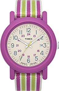 Timex Indiglo Wrist Watch (White Dial Pink And Green Striped Strap)